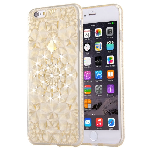 For iPhone 6 & 6s Diamond Encrusted Soft TPU Protective Case Back Cover, Gold