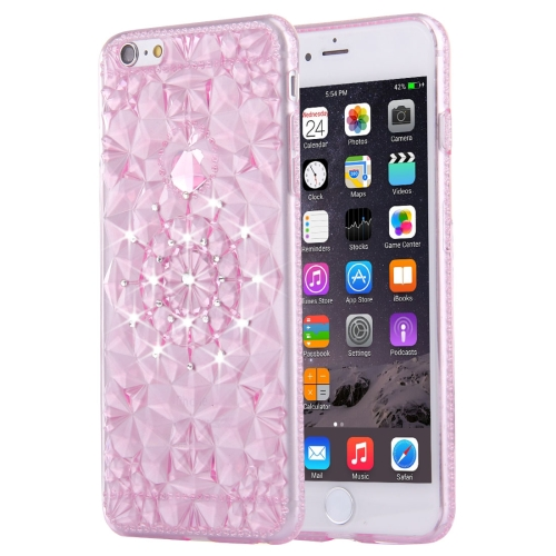 For iPhone 6 & 6s Diamond Encrusted Soft TPU Protective Case Back Cover, Magenta