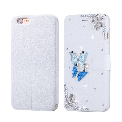 Buy Fevelove for iPhone 6 & 6s Diamond Encrusted Twin Butterflies Pattern Horizontal Flip Leather Case with Magnetic Buckle & Card Slots for $3.23 in SUNSKY store