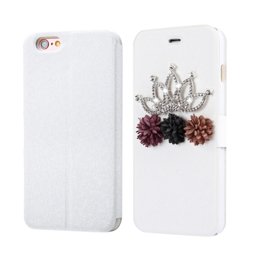 Buy Fevelove for iPhone 6 & 6s Diamond Encrusted Bling Crown Cloth Flower Pattern Horizontal Flip Leather Case with Magnetic Buckle & Card Slots for $3.93 in SUNSKY store