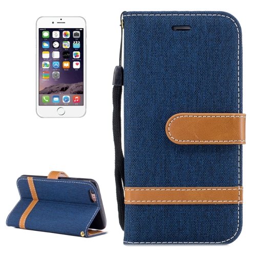 Buy For iPhone 6 & 6S Denim Texture Leather Case with Holder & Card Slots & Wallet & Lanyard (Dark Blue) for $2.54 in SUNSKY store