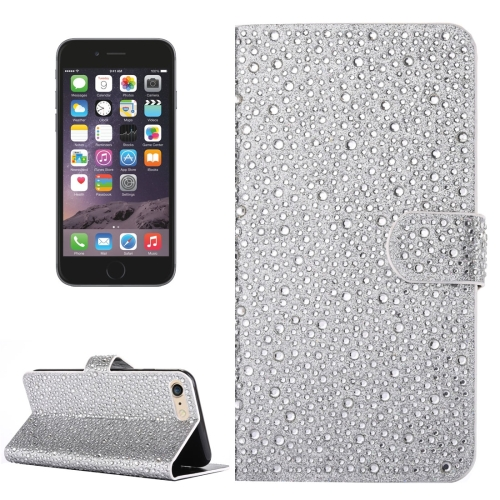For iPhone 6 & 6s Raindrops Pattern Horizontal Flip Leather Case with Holder & Card Slots, Silver