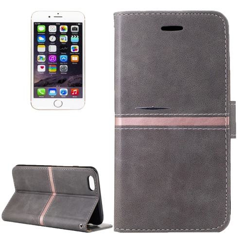 Buy For iPhone 6 & 6s Crazy Horse Texture PU Leather Horizontal Flip Leather Case with Holder & Card Slots & Wallet & Photo Frame & Lanyard, Grey for $2.63 in SUNSKY store