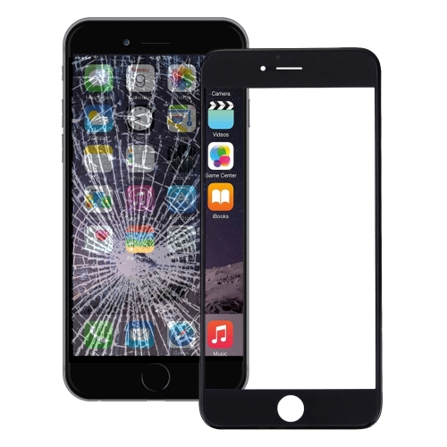 Front Screen Outer Glass Lens with Front LCD Screen Bezel Frame & OCA Optically Clear Adhesive for iPhone 6(Black)