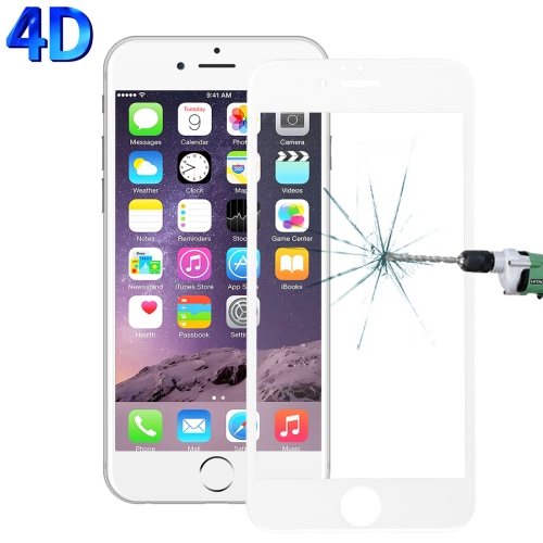 Buy For iPhone 6 & 6s 0.26mm 9H Surface Hardness 4D Curverd Arc Explosion-proof HD Silk-screen Tempered Glass Full Screen Film, White for $2.76 in SUNSKY store