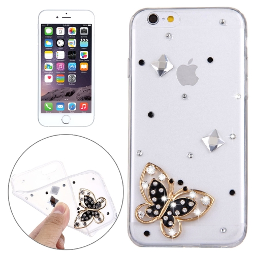 Buy For iPhone 6 & 6s Diamond Encrusted Black Butterfly Pattern Soft TPU Protective Case Back Cover for $1.62 in SUNSKY store