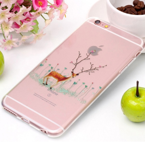 Buy For iPhone 6 & 6s Tree Branch Elk Pattern High Transparency Soft TPU Protective Case for $1.41 in SUNSKY store