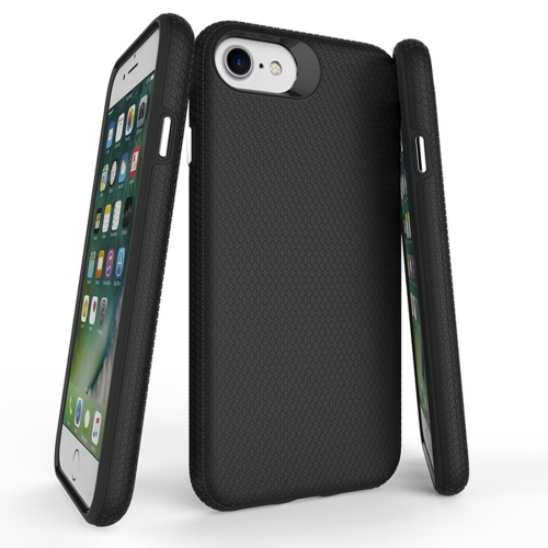 For iPhone 6 & 6s PC + TPU Chrome Plated Press Button Anti-slip Protective Back Cover Case, Black
