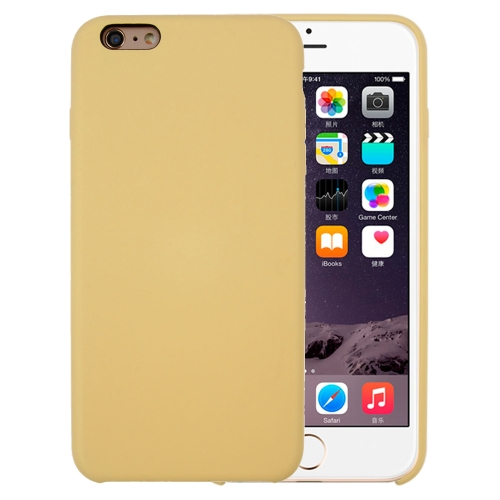 For iPhone 6 Plus & 6s Plus Pure Color Liquid Silicone + PC Protective Back Cover Case(Yellow)