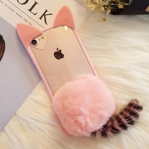 Buy For iPhone 6 Plus & 6s Plus Cute Plush Tail Cat Protective Back Cover Case with Furry Ball, Pink for $3.44 in SUNSKY store
