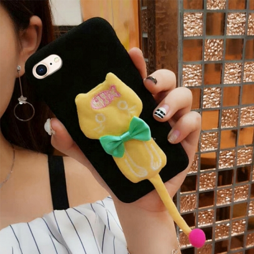 Buy For iPhone 6 Plus & 6s Plus Plush Surface Cloth Tail Cats Protective Back Cover Case with Furry Ball & Bowknot, Yellow for $3.96 in SUNSKY store
