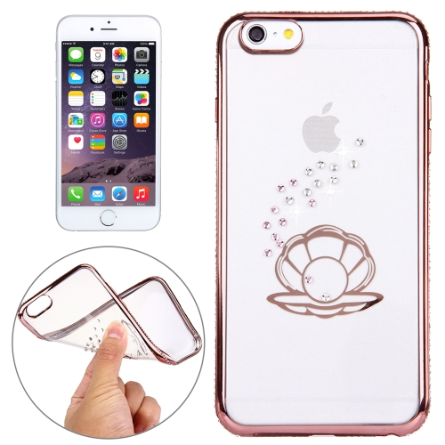 For iPhone 6 Plus & 6s Plus Diamond Encrusted Shell Pattern Electroplating Frame TPU Protective Case (Rose Gold)
