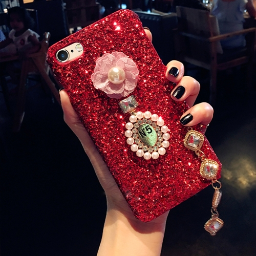 Buy For iPhone 6 Plus & 6s Plus Luxury Style Diamante Sequins Glitter Powder Protective Back Cover Case with Pendant, Red for $4.20 in SUNSKY store