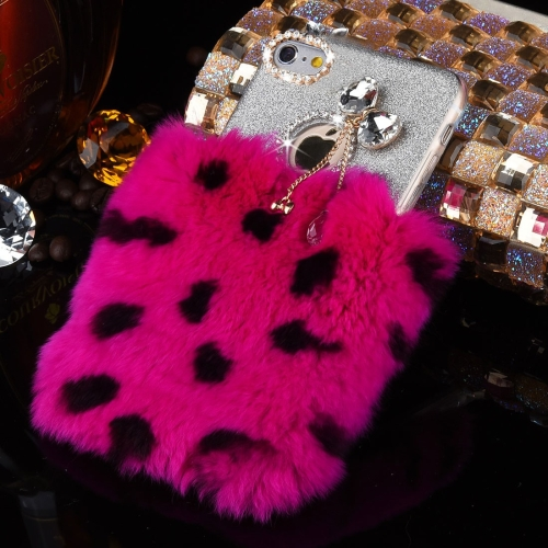 Buy For iPhone 6 Plus & 6s Plus Genuine Rabbit Hair Diamond Encrusted Flash Powder Soft TPU Protective Case (Magenta+Black) for $4.18 in SUNSKY store