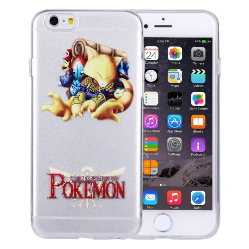 For iPhone 6 Plus & 6s Plus THE LEGEND OF POKEMON Cartoon Pattern Transparent Soft TPU Protective Cover Case