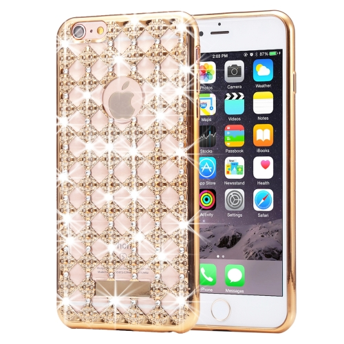 Buy For iPhone 6 Plus & 6s Plus Agate & Diamond Encrusted Electroplating TPU Protective Back Cover Case, Gold for $1.78 in SUNSKY store