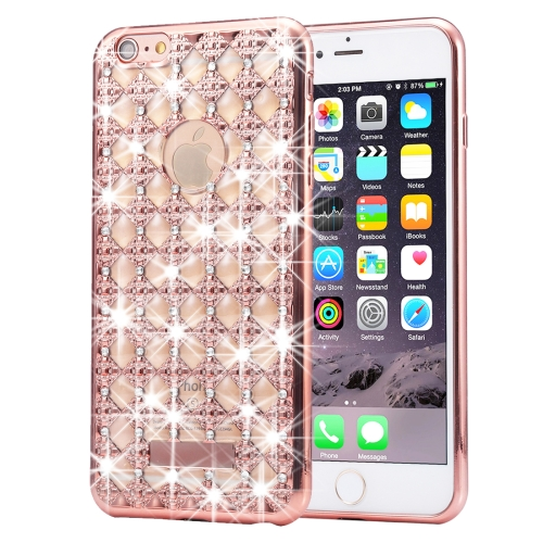 Buy For iPhone 6 Plus & 6s Plus Agate & Diamond Encrusted Electroplating TPU Protective Back Cover Case (Rose Gold) for $1.78 in SUNSKY store