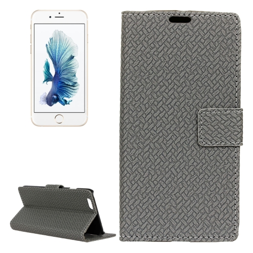 Buy For iPhone 6 Plus & 6s Plus Weaving Texture Horizontal Flip PU Leather Case with Magnetic Buckle & Holder & Card Slots & Wallet & Photo Frame, Grey for $3.03 in SUNSKY store