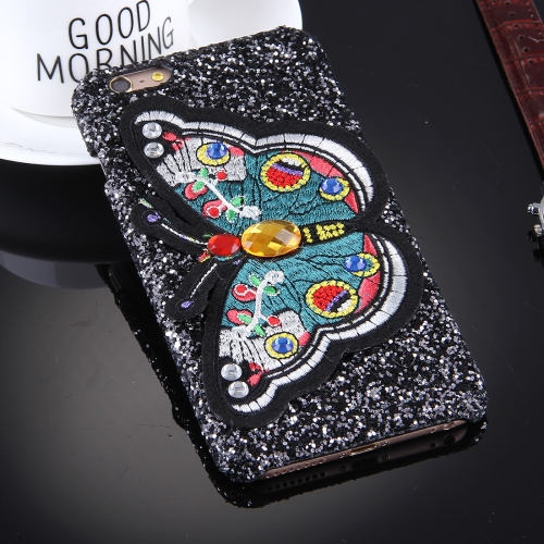 Buy For iPhone 6 Plus & 6s Plus Embroidery Butterfly Pattern Glitter Powder Acrylic Protective Back Cover Case, Random Style Delivery, Black for $2.76 in SUNSKY store