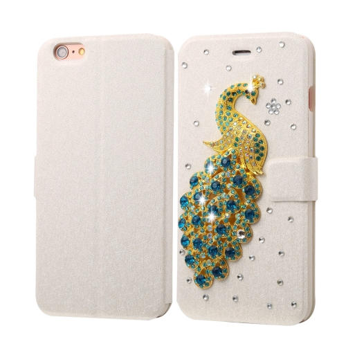 Buy Fevelove for iPhone 6 Plus & 6s Plus Diamond Encrusted Peacock Pattern Horizontal Flip Leather Case with Magnetic Buckle & Card Slots for $3.58 in SUNSKY store