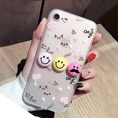 For iPhone 6 Plus & 6s Plus 3D Smiling Face Expression Silicone Pattern Protective Cover Case with Dustproof Plug