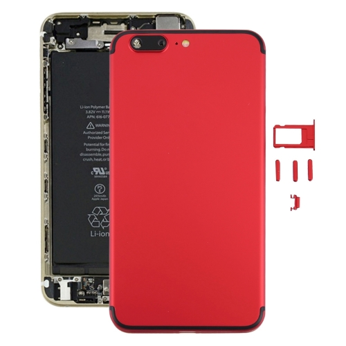Buy iPartsBuy 6 in 1 Full Assembly Metal Housing Cover with Appearance Imitation of iPhone 7 Plus for iPhone 6 Plus, Including Back Cover (Big Camera Hole) & Card Tray & Volume Control Key & Power Button & Mute Switch Vibrator Key & Sign, No Headphone Jack (Red+Black) for $20.87 in SUNSKY store