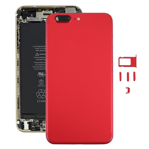 iPartsBuy 6 in 1 Full Assembly Metal Housing Cover with Appearance Imitation of iPhone 7 Plus for iPhone 6 Plus, Including Back Cover (Big Camera Hole) & Card Tray & Volume Control Key & Power Button & Mute Switch Vibrator Key & Sign, No Headphone Jack, Red