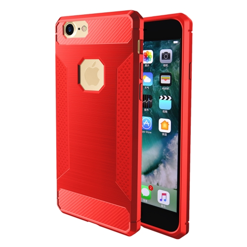 Buy For iPhone 6 Plus & 6s Plus Brushed Carbon Fiber Texture Shockproof TPU Protective Cover Case, Red for $1.87 in SUNSKY store