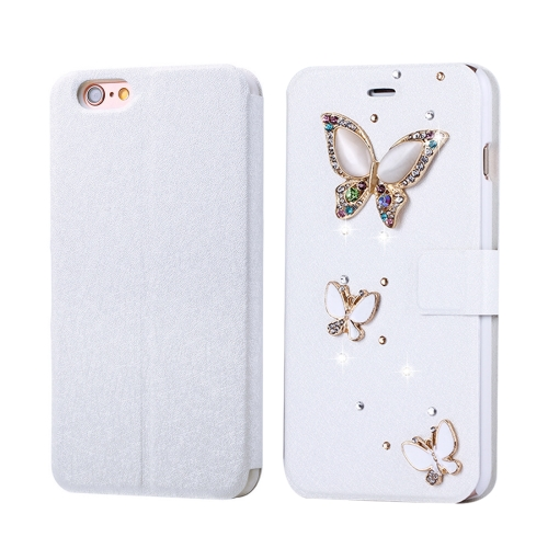 Fevelove for iPhone 6 Plus & 6s Plus Diamond Encrusted Three Butterflies Pattern Horizontal Flip Leather Case with Magnetic Buckle & Card Slots