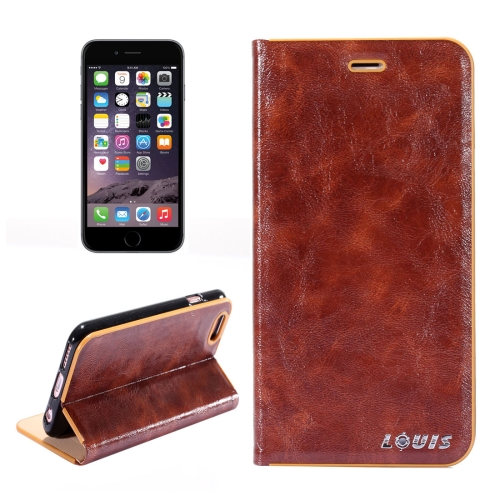 Buy LOUIS for iPhone 6 Plus & iPhone 6s Plus Crystal Texture PC Full Coverage Horizontal Flip Leather Case with Holder & Card Slots, Brown for $2.54 in SUNSKY store
