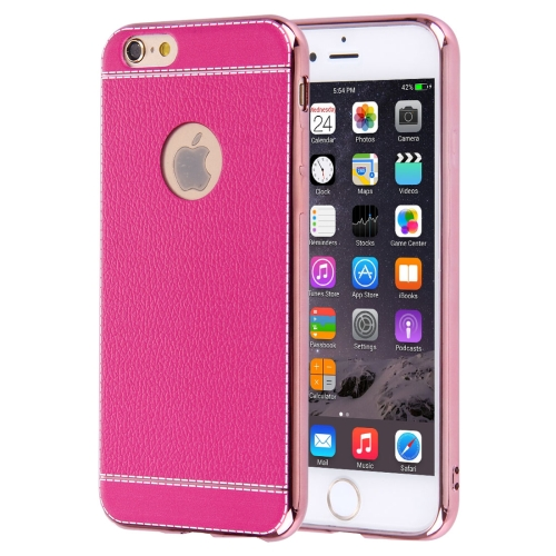 Buy For iPhone 6 Plus & 6s Plus 3D Litchi Texture Soft TPU Protective Case, Magenta for $1.49 in SUNSKY store