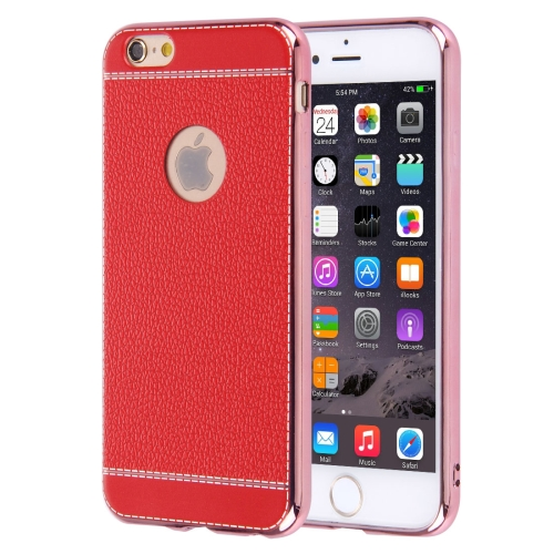 Buy For iPhone 6 Plus & 6s Plus 3D Litchi Texture Soft TPU Protective Case, Red for $1.49 in SUNSKY store