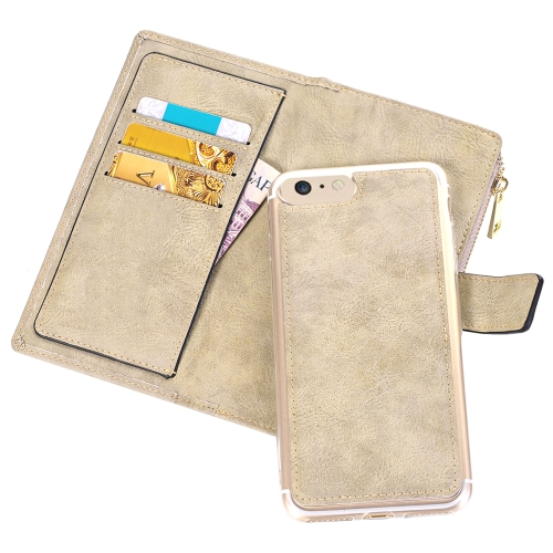 For iPhone 6 Plus & 6s Plus Retro Style Crazy Horse Texture Horizontal Flip Leather Case with Separable Back Cover & Zip Fastener & Card Slot & Wallet & Magnetic Buckle, White