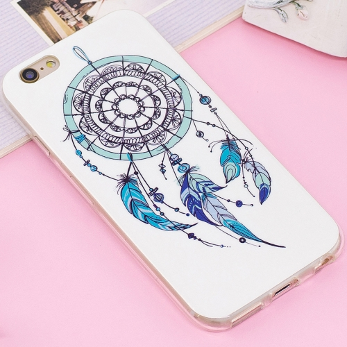 For iPhone 6 Plus & 6s Plus Noctilucent IMD Feather Dream Catcher Pattern Soft TPU Back Case Protector Cover