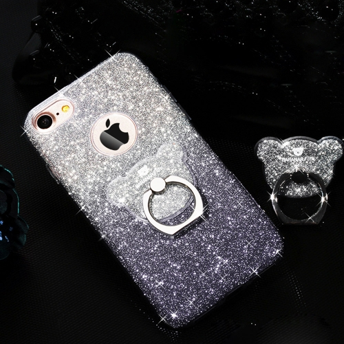 Buy AIQAA For iPhone 6 Plus & 6s Plus TPU Glitter Powder Drop-proof Protective Case with Bear Ring Holder, Black for $3.94 in SUNSKY store