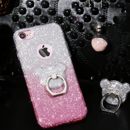 Buy AIQAA For iPhone 6 Plus & 6s Plus TPU Glitter Powder Drop-proof Protective Case with Bear Ring Holder, Pink for $3.44 in SUNSKY store