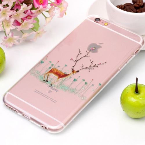 Buy For iPhone 6 Plus & 6s Plus Tree Branch Elk Pattern High Transparency Soft TPU Protective Case for $1.41 in SUNSKY store