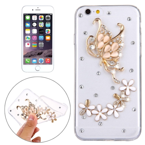 Buy For iPhone 6 Plus & 6s Plus Diamond Encrusted Flower and Buttrfly Pattern Soft TPU Protective Case Back Cover for $1.62 in SUNSKY store