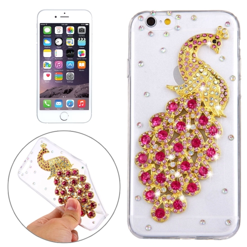 Buy For iPhone 6 Plus & 6s Plus Diamond Encrusted Magenta Peacock Pattern Soft TPU Protective Case Back Cover for $2.16 in SUNSKY store
