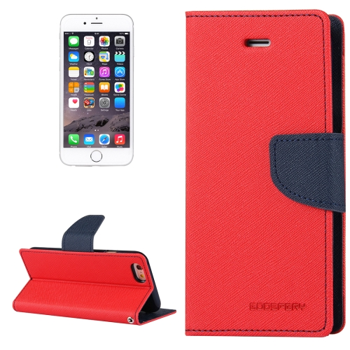 Buy MERCURY GOOSPERY FANCY DIARY for iPhone 6 Plus & 6s Plus Cross Texture Horizontal Flip Leather Case with Card Slots & Wallet & Holder, Red for $3.74 in SUNSKY store