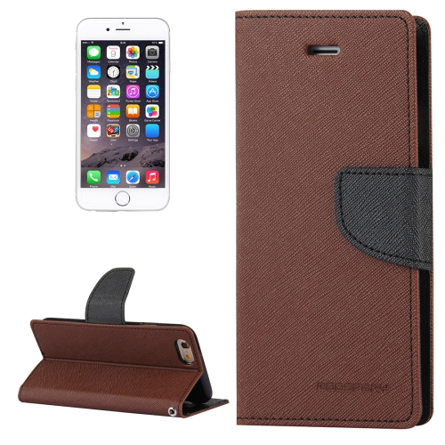 Buy MERCURY GOOSPERY FANCY DIARY for iPhone 6 Plus & 6s Plus Cross Texture Horizontal Flip Leather Case with Card Slots & Wallet & Holder, Brown for $3.74 in SUNSKY store