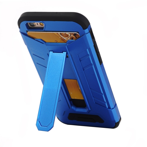 Buy For iPhone 6 Plus & 6s Plus TPU + PC Shockproof Protective Back Cover Case with Holder & Card Slots, Blue for $2.22 in SUNSKY store