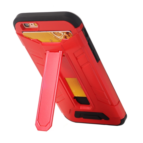 Buy For iPhone 6 Plus & 6s Plus TPU + PC Shockproof Protective Back Cover Case with Holder & Card Slots, Red for $2.17 in SUNSKY store