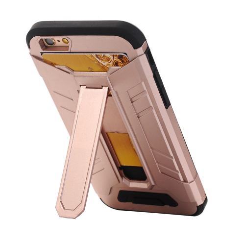 Buy For iPhone 6 Plus & 6s Plus TPU + PC Shockproof Protective Back Cover Case with Holder & Card Slots (Rose Gold) for $2.17 in SUNSKY store