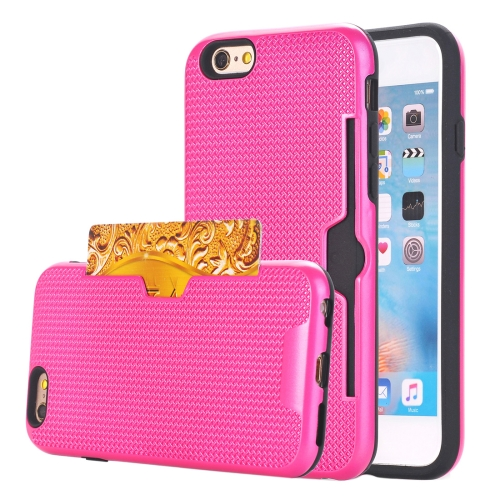 For iPhone 6 Plus & 6s Plus Dream Network Dropproof Protective Back Cover Case with Card Slots, Magenta