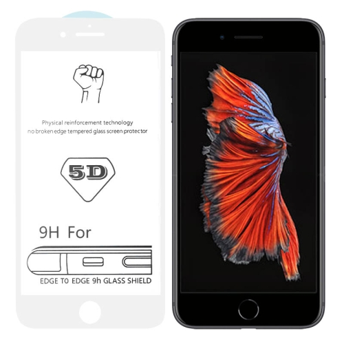 9H 5D White Full Glue Full Screen Tempered Glass Film for iPhone 6 Plus / 6s Plus