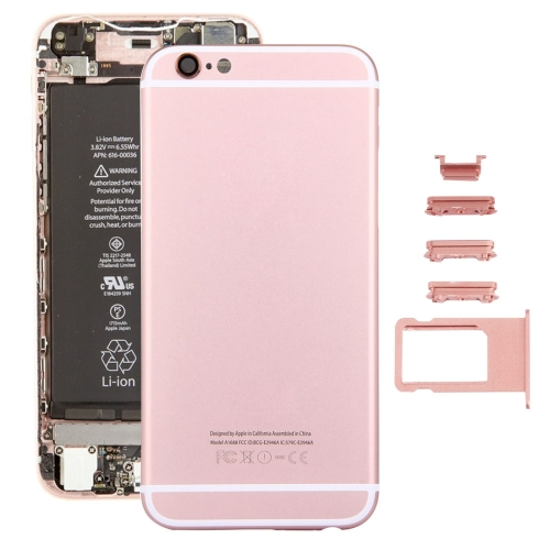 5 in 1 for iPhone 6s (Back Cover + Card Tray + Volume Control Key + Power Button + Mute Switch Vibrator Key) Full Assembly Housing Cover(Rose Gold)