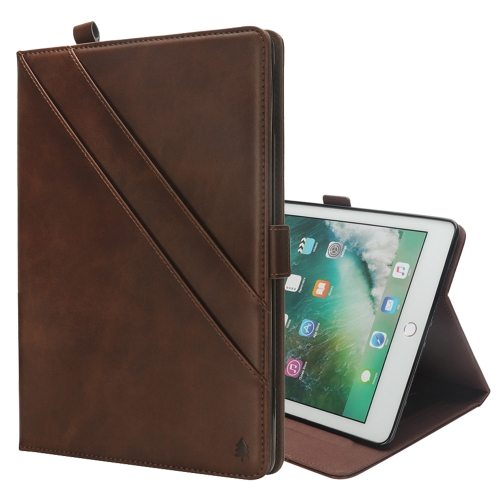 Horizontal Flip Double Holder Leather Case for iPad 9.7 (2018) / (2017) & Pro 9.7 & Air 2 & Air , with Card Slots & Photo Frame & Pen Slot(Dark Brown)