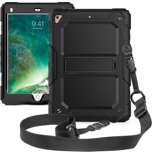 Shockproof PC + Silica Gel Protective Case for iPad 9.7 (2018), with Holder & Shoulder Strap (Black)
