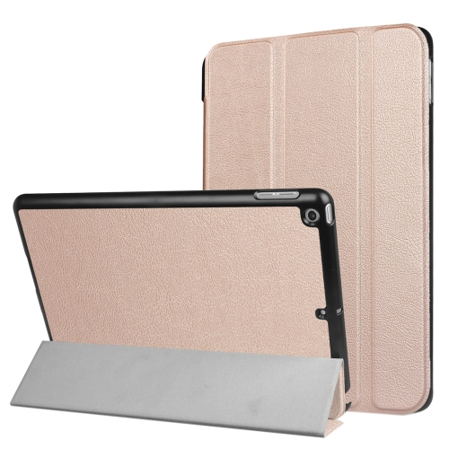 For iPad 9.7 (2018) & iPad 9.7 (2017) Custer Texture Horizontal Flip Leather Case with Three-folding Holder & Sleep / Wake-up Function(Rose Gold) фото